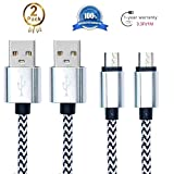 Android Charging Cable,Hankuke [2-Pack] Multi length and color Sturdy Nylon Fabric Braided High Speed Data Sync USB to Micro USB Cable (1m white)