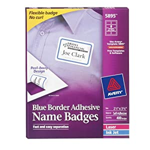 Avery Adhesive Name Badges, 2.33 x 3.38 Inches, White with Blue Border, Box of 400 (5895)