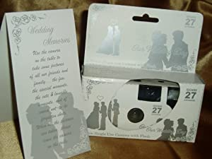 10 Pack Silver Lovers Wedding Disposable 35mm Cameras in Gift Boxes with Matching Tents 27 Exp.