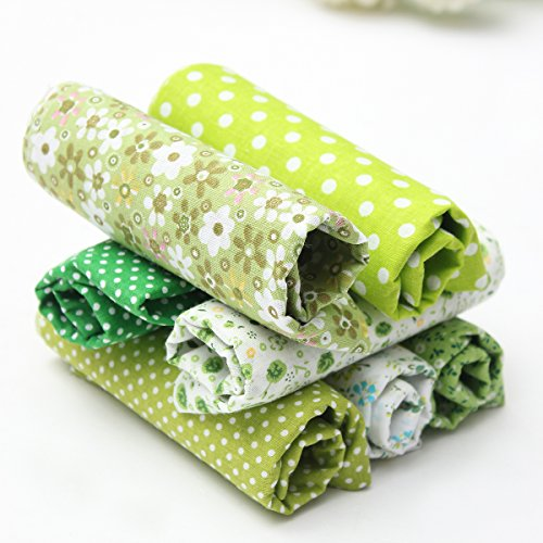 king-do-way-7stueck-stoffpakete-baumwollstoff-patchwork-stoffe-baumwolle-stoffreste-paket-gruen-50x5