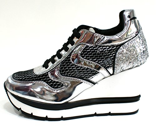 Voile Blanche Sneaker Donna Jessie Zeppa Rialzo Cm 9 Nero Argento-37