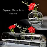 New Fashion Personalized Square Glass Vase With 3 Holes,Clear Glass Vase With Flowers Cheap Table Decoration Vase...