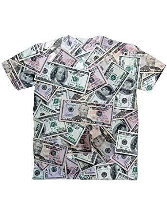 Money Realistic Print Covered In 50-Spots And C-Notes T-Shirt