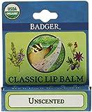 Badger Organic Lip Balm Stick Unscented -- 0.15 oz