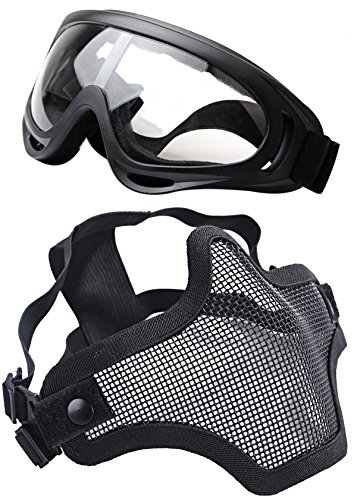 OUTGEEK Airsoft Half Face Mask Steel Mesh and Goggles Set (Black) (Carbon Tactical Helmet compare prices)