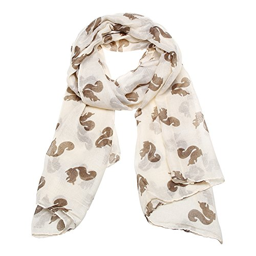 Jian Ya Na Fashion Lightweight Viscose Cute Squirrel Print Scarf (Beige)