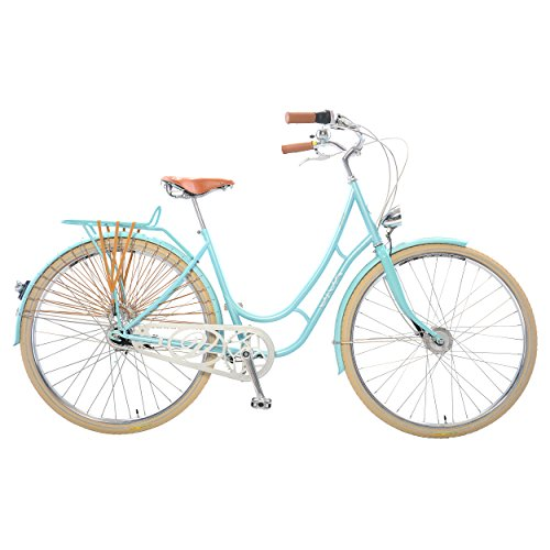Viva Juliett Classic 7 City Cruiser Bicycle with Lights , 700c wheels, 47 cm frame, Women's Bike, Light Blue 0