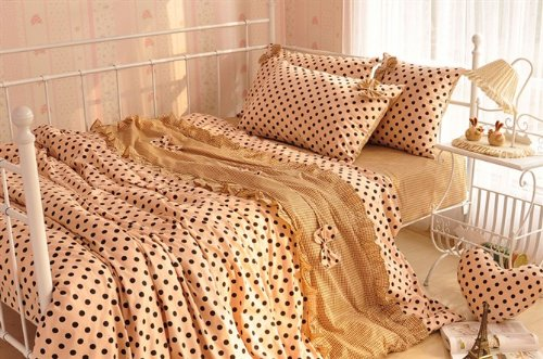 Chic Camel Princess Korean Bedding Polka Dot Printed Bowknot Duvet Cover Cotton Ruffle Girls King Bed In A Bag 4Pcs back-972223