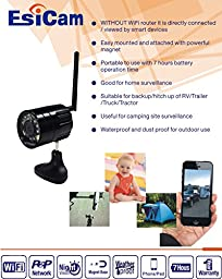 EsiCam World First HD Portable Wireless iPhone Rear View Camera for RV Trailer Truck SUV Rear View & Backing Up Creative All In One Camera with Flash Light