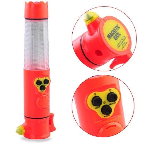 Car Emergency Life Saving Hammer Cutter Alarm Lamp Led Flashlight - Red front-673070