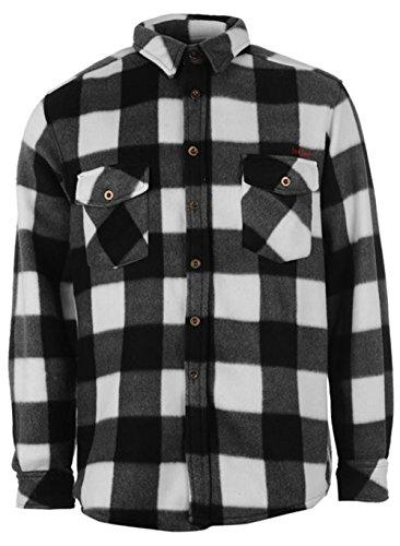 Da uomo Designer Lee Cooper caldo Controllato regolare colletto maglia in pile nero/bianco Large