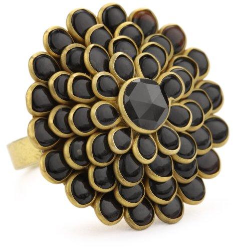"Zariin ""The Daisy Flower"" Black Onyx Adjustable Ring"