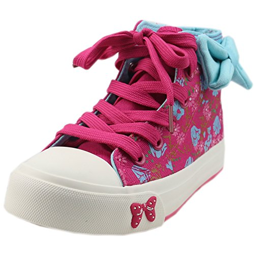 Orgrimmar Children Girls Flowers Printed Lace up Canvas Shoe