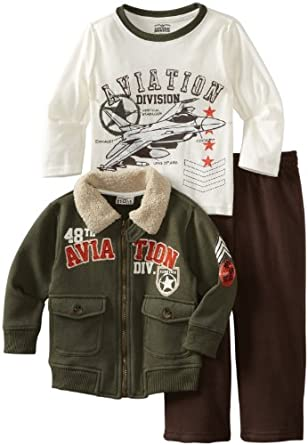 Little Rebels Boys 2-7 3 Piece 48Th Aviation Division Jacket Set, Green, 4T