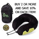 Luxury Memory Foam U Neck Pillow for Travel by Zee-Zoo - Washable Velvet Cover - Adjustable Straps - Side Pocket for Cellphone - Travel Bag.