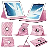 Stuff4 Polka Dot Designed Leather Smart Case with 360 Degree Rotating Swivel Action and Free Screen Protector/Stylus Touch Pen for 8 inch Samsung Galaxy Note N5100/N5110/N5120 - Baby Pink/White