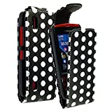 CONTINENTAL27 For Nokia Asha 300 New Stylish Design Polka Dot Black Printed Pouch PU Leather Magnetic Flip Closure Case Cover