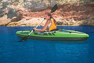 68305EP Intex One Person Challenger K1 Inflatable Kayak Kit with Paddle & Pump