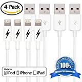 Zeus Products Certified Lightning Cord to USB Charging Connector for iPhone 6 6 Plus, 5s 5c 5, iPad mini/Air/Pro, iPod Touch/Nano - White 3 FT (4 PACK)