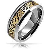 Valentine Gifts Mens Tungsten Celtic Dragon Gold Plated Black Inlay Wedding Band Ring 8mm
