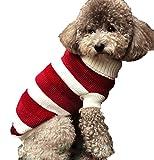 犬 服 赤 白 ボーダー タートルニット おしゃれ カジュアル ラフ あったか 防寒 秋服 冬服 ゆったり 伸縮性 あり XS