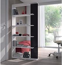 Comprar Habitdesign 0T2252BO - Estantería 5 baldas, color Blanco y Negro Brillo, dimensiones: 90cm (ancho) x 180cm (alto) x 25cm (profundo)