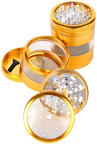 Zip-Grinders-Large-Spice-Herb-Grinder-Four-Piece-with-Pollen-Catcher-325-Inches-Tall-Premium-Grade-Aluminum-25-Gold
