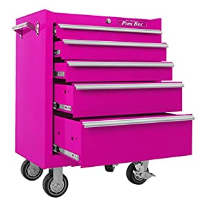 The Original Pink Box PB2605R 26-Inch 5-Drawer 18G Steel Rolling Cabinet, Pink