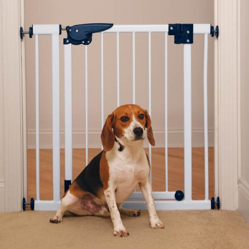 Pet Studio Steel/Plastic Pressure-Mounted Pet Gate, White