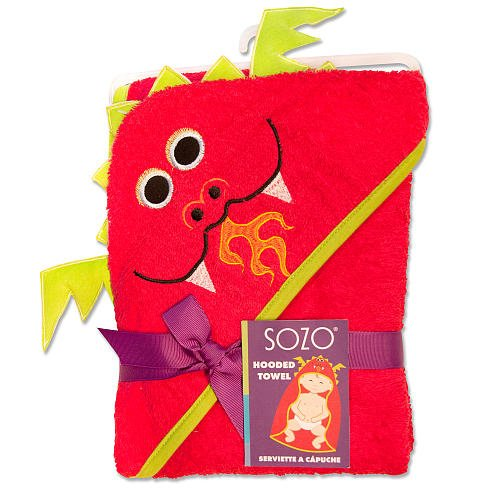Sozo Baby-Boys Newborn Dragon Hooded Towel, Red, 0-2 Years - 1