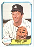 1981 Fleer # 81 Tommy John New York Yankees Baseball Card - In A Protective ScrewDown Display Case!