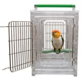 Paradise Toys Perch & Groom Bird Carrier Travel Cage, 10-1/2-Inch W by 12-1/2 D by 15-Inch H