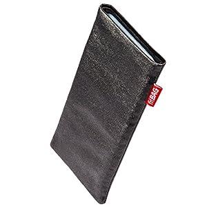 fitBAG Techno Schwarz Handytasche Tasche aus Textil-Stoff mit Microfaserinnenfutter für HTC One X
