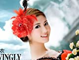 可憐! 髪飾り コザージュ ヘッド ドレス ヘアバンド セット パーティー 披露宴 結婚式 ウェディング 607 (朱色)