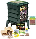 "Worm Factory 360 Worm Composting Bin + Bonus ""What Can Red Wigglers Eat?"" Infographic Refrigerator Magnet (Green)"