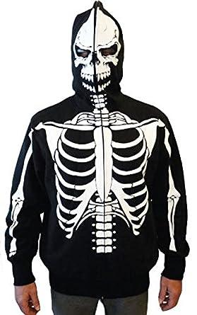 Full-Zip Up Skeleton Print Adult Hooded Sweatshirt Hoodie Costume with Face Mask