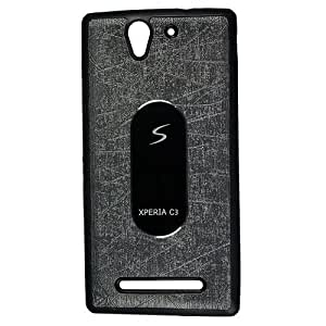 Casotec Metal Back TPU Back Case Cover for Sony Xperia C3 - Black