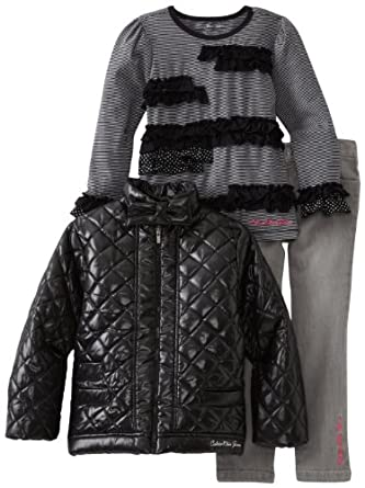 Calvin Klein Girls 2-6X Jacket With Tee And Jean, Assorted, 6X