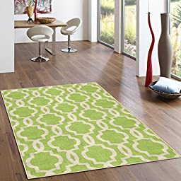 Rubber Backed 2-Piece Rug SET Fancy Moroccan Trellis Green & Ivory Area Non-Slip Rug - Rana Collection Kitchen Dining Living Hallway Bathroom Pet Entry Rugs RAN204GRN-2PC