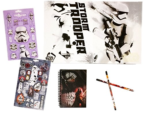 [7 item LIMITED Disney Star Wars Bundle Exclusive [Stormtrooper Rule Journal, 2-pocket File Folder, 31 stickers, 2 pencils, 2 Recyclable Tote bags (Stormtrooper & The] (Star Wars The Force Unleashed 2 Darth Vader Costume Cheat Xbox)