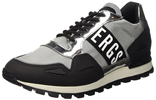 Bikkembergs Fend-Er 739 Shoe M Rubber Leather/Fabric, Scarpe Low-Top Uomo, Grigio (Blk/Silver), 42 EU