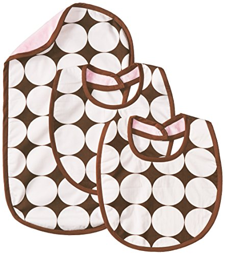 Bacati - Dots Pink/chocolate Bibs and Burps Set - 1