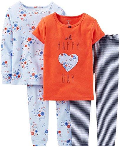 Carter's Little Girls' 4 Piece PJ Set (Toddler/Kid) - Happy Day - 3T