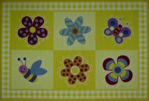 Roule Olive Kids Collection Flowerland 19X29 Inch Kids Area Rugs