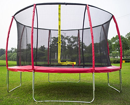 Great Deal! Merax 14 FT Round Trampoline with Safety Enclosure set (Red)