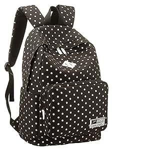 UZZO Girl's Women's Vintage Cute Polka Dot Backpack School Book Campus Bag (Black)