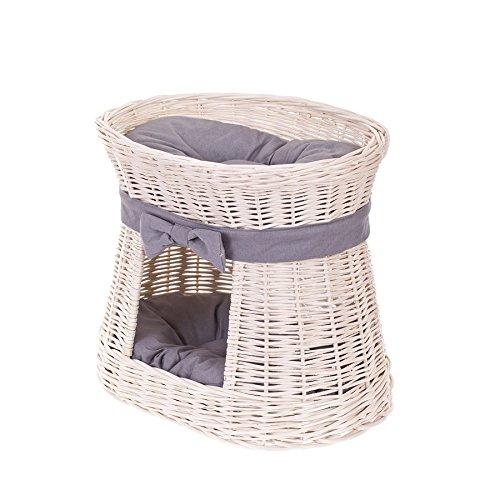 Litniche-en-osier-blanc-avec-coussins-pour-chat-Panier-maison-en-osier--deux-tages-Panier-osier-avec-lit-au-dessus-et-2-coussins-gris