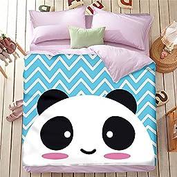 EsyDream Home Cartoon Kids Panda Bedding Sets Queen Size,100% Cotton Black White Panda Duvet Cover Sets (No Comforter),Color 16