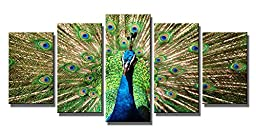 Wieco Art the Peacock 5 Panels Modern Giclee Canvas Prints Artwork Animals Wall Art for Home Decorations