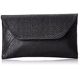 Patzino Fashion Collection, Faux Leather Croco Chic Women's Envelope Clutch (Black)